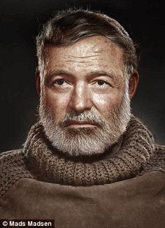 Ernest Hemingway portrait colorized