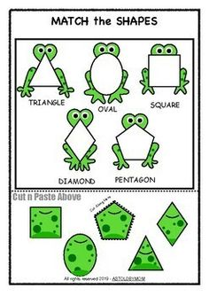 Along with 10 different Individual FROG Shape Posters for your bulletin boards, this Cut & Paste Shape Sorting Math Puzzle Activity will help preschool students, toddlers and kids or homeschoolers to identify and distinguish various basic shapes. Easter Activities For Toddlers, Frog Activities, Preschool Learning Activities, Sorting Activities, Preschool Activities, Shape Activities, Homeschool Kindergarten, Montessori Elementary, Montessori Preschool