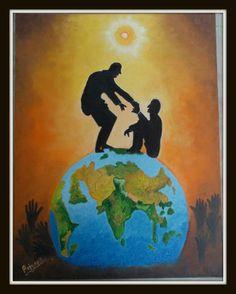 "Humanity Beyond Boundaries, oil on 14""X18"" canvas"