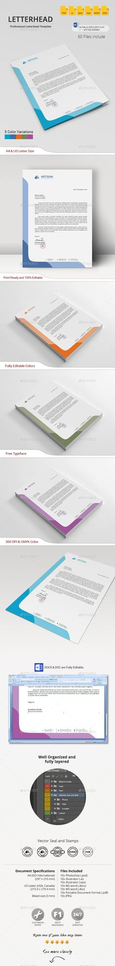 Buy Letterhead by artisanHR on GraphicRiver. Letterhead A simple unique letterhead for all kind of business and personal purpose usages. This file is easy to edi. Letterhead Printing, Letterhead Business, Stationery Printing, Letterhead Design, Letterhead Template, Stationery Items, Stationery Design, Print Templates, Design Templates