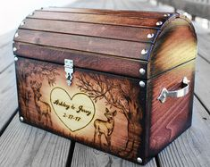 Deer Hunter Design Includes: • Burning of a buck and a doe with 2 trees. • Large heart in the center of the box with bride and groom first names and married name. • Wedding date included inside heart on tree. • 2 coats of shellac for a protective finish. • Extra slat included to close up Rustic Card Box Wedding, Deer Wedding, Wedding Boxes, Wedding Cards, Large Wood Slices, Tree Designs, Custom Boxes, Shellac, Hope Chest