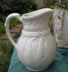 Antique Salt Glaze Pitcher - Wheat Design - The Vintage Village