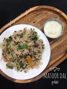 Veg Recipes, Side Dish Recipes, Indian Food Recipes, Cooking Recipes, One Pot Rice Meals, Pulao Rice, Masoor Dal, Ayurvedic Diet