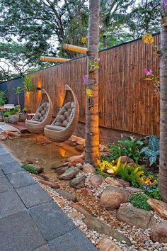 Exciting Backyard And Front Yard Landscaping Design For Your Dream House S. - Diy Best Decor - - Exciting Backyard And Front Yard Landscaping Design For Your Dream House S. Modern Backyard, Small Backyard Landscaping, Modern Landscaping, Backyard Patio, Landscaping Design, Patio Design, Garden Modern, Patio Fence, Sloped Backyard