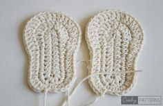 Crochet soles in different sizes (baby sizes 0-3, 3-6 & 6-9 months)