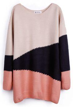 Red Black Beige Long Sleeve Geometric Asymmetrical Sweater