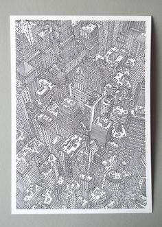 Granja Grafica prints highly detailed city scape print.