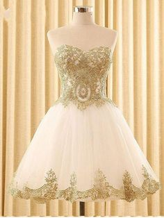 Ivory Tulle with Gold Lace Appliqued Sweetheart Neck Homecoming Dresse - SheerGirl Gold Dama Dresses, Quinceanera Dama Dresses, Quince Dresses, 15 Dresses, Sexy Dresses, Dresses Online, Sweet 16 Dresses Gold, White And Gold Dresses, Short Sweet 16 Dresses
