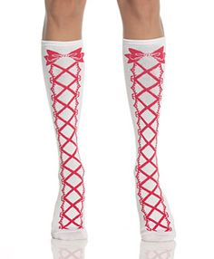 Red & White Faux Lace-Up Lolita Knee High Socks