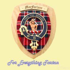 Clan MacFarlane Tartan Woodcarver Wooden Wall Plaque MacFarlane Crest 7 x 8