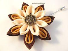 Handmade Kanzashi Boutonniere.Kanzashi Flower Lapel Pin. Kanzashi fabric flower brooch . Boutonniere lapel pin