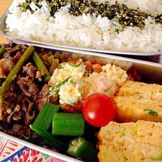 おはようございます☀ - 8件のもぐもぐ - アスパラガスと牛肉の炒め物、ポテサラ、おくら、ミニトマト、青葱卵焼き。 by seabreeze