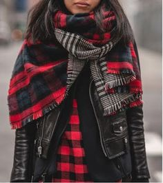 Bundle up in double the plaid. When accessorizing with a blanket scarf, be sure to keep your outer layers more fitted to reduce bulk & balance out the look.