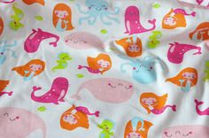 3229 - Mermaid Cotton Jersey Knit Fabric - 70 Inch (Width) x 1/2 Yard (Length) on Etsy, $8.00