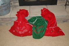 "LOVE this idea!!!!   ""Each year our kids must choose ten old toys to put in their Santa bags. These must be toys in decent shape that other kids would actually want. We leave the bags under our tree on Christmas Eve. Santa takes the old toys back to the North Pole to fix them up he leaves new toys in the bag. Great way to declutter, recycle old toys, and teach the kids about giving."""