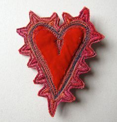 Unique embroidered felt brooch by JackieCardytextiles on Etsy