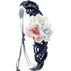 Ceramic Bracelet Vintage Jingdezhen Bangles Flower Pure Manual Weaving Tricolor Flowers Adjustable Rope Girls Gift