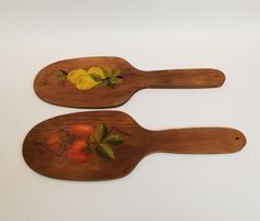 Vintage wooden butter paddles handpainted Strawberries, lemons apples and flowers, set of 2 Farmhouse primitive decor by Brookesrepurpose on Etsy