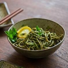 Parsley pesto dresses soba noodles for a #glutenfree alternative to pasta. Recipe from White on Rice Couple, found at www.edamam.com