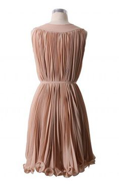 Peach Pleated Dress with Belt - Retro, Indie and Unique Fashion