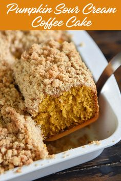 Pumpkin Sour Cream Coffee Cake - Looking for the perfect #Fall coffee #cake? This amazing sweet treat #recipe is extra moist with sour cream and full of #spice and #pumpkin flavor with a #cinnamon #streusel topping. Enjoy at #breakfast with a cup of #coffee or for #dessert during the #Thanksgiving and #Christmas #holidays. For more cake recipes, visit www.dixiecrystals.com. #dixiecrystals