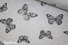 Kuschelweicher Grafik Sweat meliert *Butterflies* elastisch