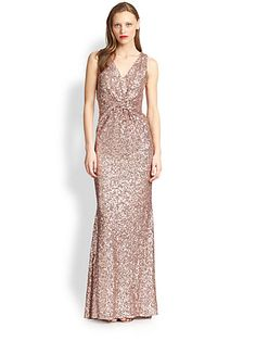 Badgley Mischka - Twist Sequin Gown *Twisted waist panel *Flared skirt  *Cut-out back with        snap closure *Concealed side zipper *Lined Saks.com