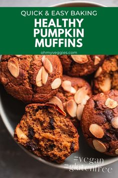 These yummy pumpkin muffins are loaded with healthy ingredients like fresh pumpkin puree, oat flour, and flaked almonds. They're naturally vegan and gluten-free. And this one bowl recipe only takes 30 minutes to make! Gluten Free Pumpkin, Healthy Pumpkin, Vegan Pumpkin, Vegetarian Breakfast Recipes, Vegetarian Cooking, Pumpkin Varieties, Baking School, Homemade Pumpkin Puree, Dairy Free Chocolate Chips