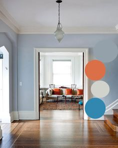 Love this color palette in watery hues, king fisher blue and cantaloupe orange Blue Wall Colors, Breezeway, World Of Interiors, Bird Design, Blue Walls, Interior And Exterior, Cantaloupe, Fisher, Inspiration