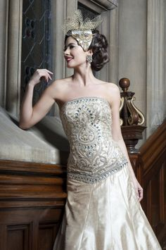 WS09 - light champagne gold gown with exquisite Indian embroidery ideal for a registry wedding