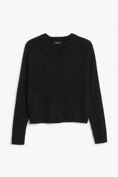 Monki Image 1 of Ribbed knit sweater in Black