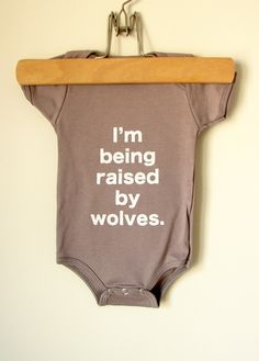 Baby onesie I'm Being Raised By Wolves 36mo by eggagogo on Etsy