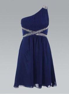 Chiffon Navy Blue One Shoulder Dress with Sequin Detail, Dress, one shoulder dress embellished dress, Chic