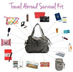 Camera + camera case, extra battery, and memory card; Passport + tickets, itinerary, etc; Prescriptions; Gum; Chapstick; Hand sanitizer; Travel toothbrush; Money pouch; Tylenol; Travel toilet paper; City guide; Journal — jot down memories from your time abroad; Face wipes; Hair brush; Makeup Bag; Face powder; Travel-sized dry shampoo — freshen your hair after a long flight or day