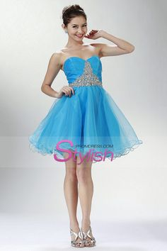 2015 Sweetheart A Line Short/Mini Homecoming Dresses Beaded And Ruffled Organza Lace Up