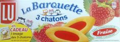 """STRAWBERRY BARQUETTE $4.50 Barquettes Trois Chatons have been a French snack favorite for more than 40 years. These soft, small-boat-shaped cookies (hence the name """"barquette"""") come with a delicious fruit filling and no conservative nor coloring agent. Each pack contains 3 sealed pouches of 6 pieces. Slide one pouch in your bag and you're good to go for the day.  The origin of LU dates back to the marriage of Monsieur Lefebvre, a baker, and Mademoiselle Utile in... 120 grams / 4.2 oz French Snacks, French Food, French Cookies, Strawberry Cookies, Shaped Cookie, Delicious Fruit, Afternoon Snacks, Granola, How To Introduce Yourself"""