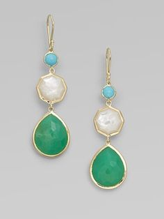 turquoise, mother of pearl, and chrysoprase earrings