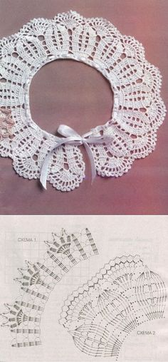 Crochet lace collar: petals, fan scallops, ribbon tie