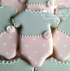 Onesie Baby Shower Baby Girl Cookies by DolceCustomCookies on Etsy