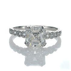 Leigh Jay Nacht Inc. - Replica Art Deco Engagement Ring - 3087-04.  Asscher Cut Center Stone.