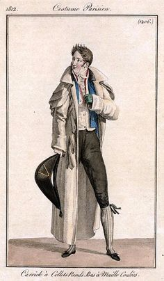 Costume parisien, 1812. Man wearing blue leather gloves. Three seams on back of hand visible.