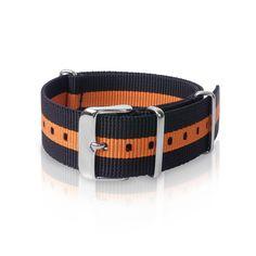 Nato Strap | Black Orange Strips ( 22 mm )