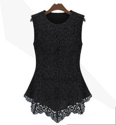 2013 New Women's Sleeveless Crew Collar Lace Peplum Blouse Top Vest Shirts Black -- BuyinCoins.com