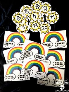 March Seasonal Free Download for Subscribers! Counting ten frames with rainbows and the sun! Kindergarten Centers, Learning Centers, Math Centers, Counting Puzzles, Maths Puzzles, Maths Starters, Centers First Grade, Teen Numbers, Ten Frames