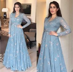 Spotted: looking splendid and classic in a blue draped gown by — a label to look out for! Get this look at Carma via link Indian Designer Outfits, Designer Gowns, Indian Outfits, Indian Gowns Dresses, Pakistani Dresses, Drape Gowns, Muslim Dress, Anarkali Dress, Anarkali Suits