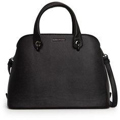Saffiano-Effect Tote Bag ($50) ❤ liked on Polyvore featuring bags, handbags, tote bags, purses, bolsos, bolsas, black, long strap purse, man tote bag and handbags tote bags