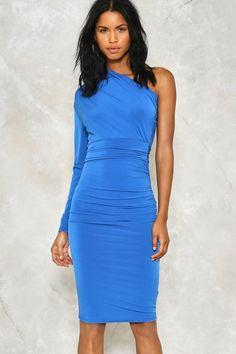 Then dance hard. The Tie Hard Dress features a midi, one shoulder, bodycon silhouette and tie belt at waist.