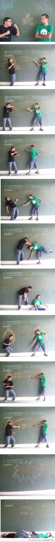 Epic Chalk Board Battle  #funny #epic