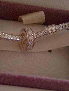 c3a214958 Pandora bracelet charm- Silver and crystal stopper- 925 silver - Pandora  bracelet.European charm