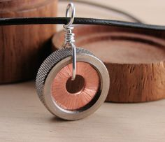 Copper Statement Necklace Pendant Hardware Jewlery Industrial Washers on Leather Cord. $20.00, via Etsy.